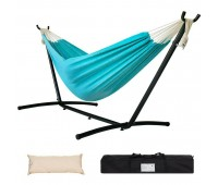 Lazy Daze Double Hammock 9FT Space Saving Steel Stand Pillow Carrying Bag 450lbs